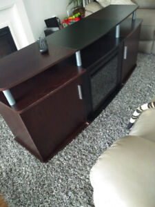 tv stand with fireplace with 2 storage.