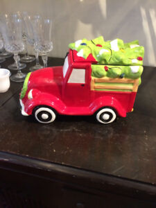 Truck and Christmas Tree Cookie Jar
