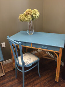 RATTAN DESK WITH MATCHING CHAIR!!