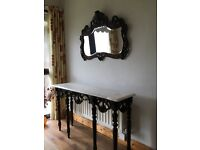 Marble Top Hall Table & Matching Mirror
