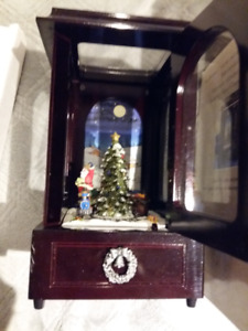 Christmas Music Box With Rotating Scenery Inside Cabinet