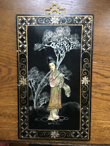 Vintage Japanese Black Lacquer  Mother of Pearl Panel