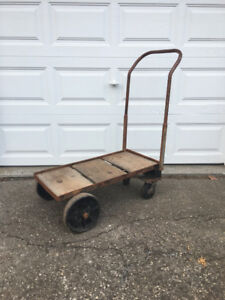 Vintage industrial steel flatbed cart