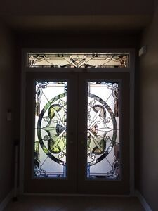 Door insert/ wrought iron/ stain glass/ any sizes