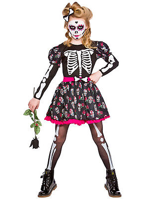 Sugar Skull of the Dead Skeleton Girls Halloween Fancy Dress Costume Ages - Sugar Girl Kostüm