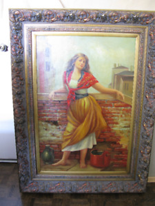 Original Oil Painting and Frame - Girl Standing