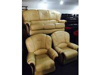 Cream leather 3 11 sofa set