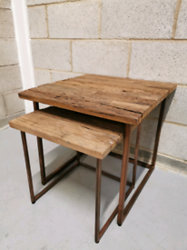 Industrial Vintage Rustic Sleeper Wood & Iron Nest of Side End Tables