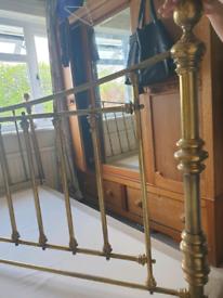 Brass super king bed frame with superking divan