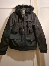 Men's Black Water resistant Hooded Bomber Rain Jacket Coat UK Size L