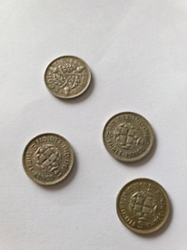 4 x Silver Threepence Pieces