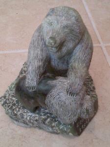"Native Inuit Stone Carving  ""The Bear & Buffalo"" artist BRAXRMMX"