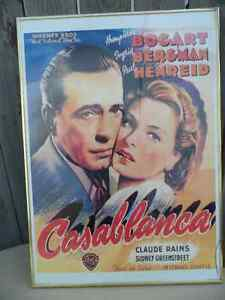 Casablanca Framed Poster $40 . Small crack in corner.