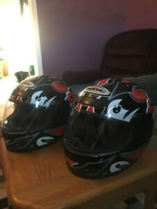 matching motorcycle helmets
