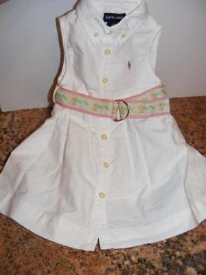 NEW RALPH LAUREN WHITE COTTON SUMMER ROMPER DRESS w BELT BABY GIRL 12M 12 Month