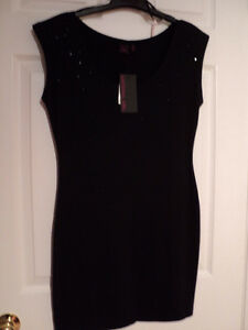MATERIAL GIRL Short Sleeve Tunic NWT BLACK Embellished Size L