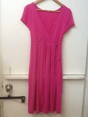 J Crew Pink Stretchy Rayon Jersey Knit Cross Body Dress Drawstring Waist S Small Jersey Knit Body
