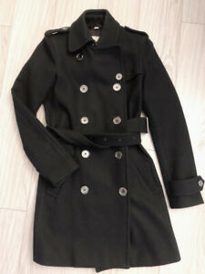 BURBERRY Classic Wool/Cashmere Trench Coat Size 2, Gently Used!!