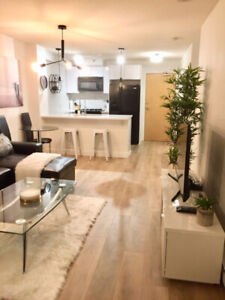 Stunning Fully Furnished 1 Bedroom + Office in Coal Harbour