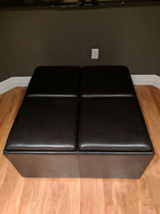 leather coffee table with storage and ottoman