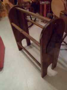 """Price Reduced"" Blanket Stand with Boxer Dog Head on each end."