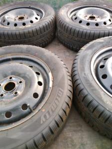 Volkswagen snow tires on steel rims