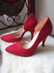 Call it Spring red suede shoes, new in box