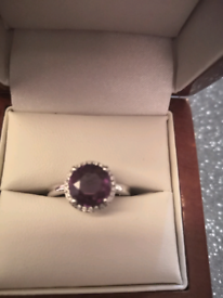 White Gold & Diamond Amethyst Ring