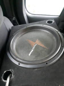 "15"" sub in box with amp and wiring ready to go!"