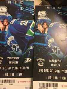 Canucks-Ducks Friday Dec. 30th $250 -2 lower bowl tickets