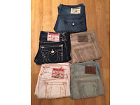 5 pairs of Men's brand new True Religion jeans. All waist 34 apart from grey pair