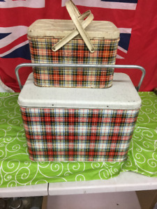 Vintage metal cooler and picnic box