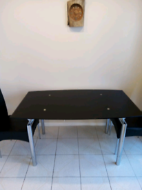 Black glass dining table - no chairs