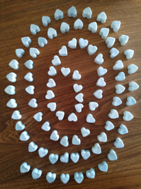 85 mini hearts soy wax melts Patchouli, sandalwood and vanilla scented - free delivery