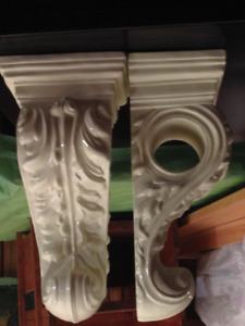 FOAM FORMED WHITE CORBELLS FOR CURTAIN RODS $10.00 EACH SET OF 2