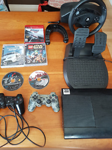 Playstation 3 with racing wheel, 2 controllers, and 5 games