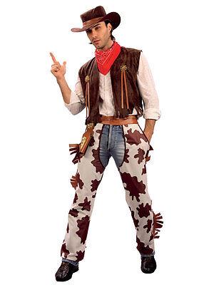 Cowboy Fancy Dress Costume Adult Mens Cowprint Outfit Western Hat Bandana Chaps