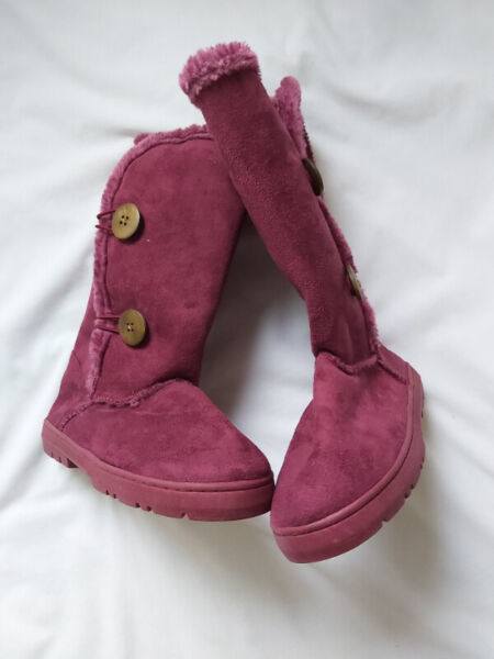 Rubi winter boots mid calf with buttons and faux fur lined