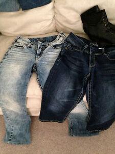 Small Fitting size 28 Capri's, & Silver 28 jeans