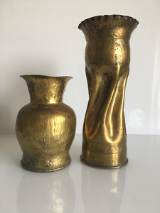 Pair World War II Artillery Shell Casing Trench Art Vases