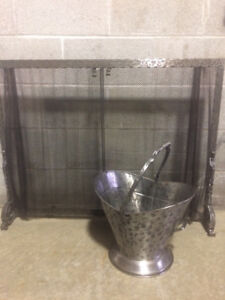 Swedish Wrought Iron Screen and Bucket Set - New