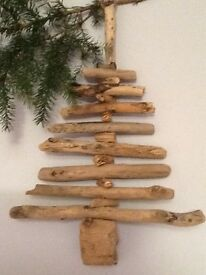 Driftwood hanging Christmas tree decoration. Unique handmade design