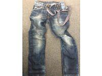 Boys jeans with braces.