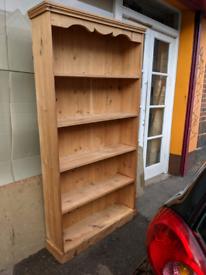 Superb Vintage Solid pine standing bookshelf