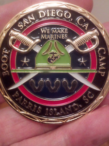LARGE RARE 50mm PARRIS ISLAND SAN DIEGO BOOT CAMP COIN.