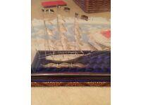 Maltese silver yacht filigree ornament in glass presentation box