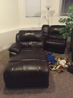 Leather sectional coach with power recliner and chea lounger.