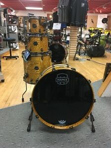 Mapex Saturn IV Natural Ash Burl MH Exotic Edition 4 pc Drum Set SNM529XBSNL !