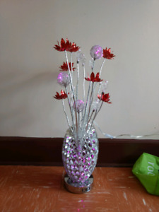 Beautiful Lighted Red & Silver Metallic Vase with Flowers