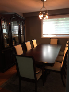 Beautiful Dining Set - 8 chairs, expandable table, china cabinet